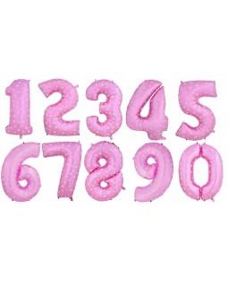 """Фольгированная цифра """"Розовая в сердечко"""""""