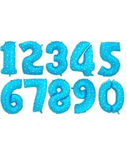 """Фольгированная цифра """"Голубая со звездами"""""""