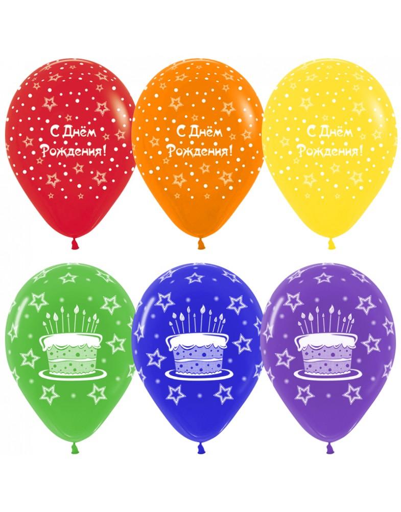 """Воздушные шары """"С Днем Рождения"""" ( торт и звезды)"""