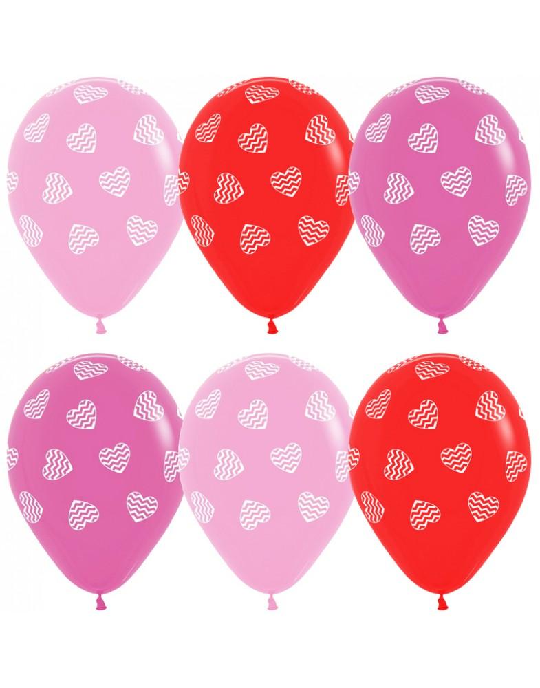 """Воздушные шары """"Полосатые сердца"""""""