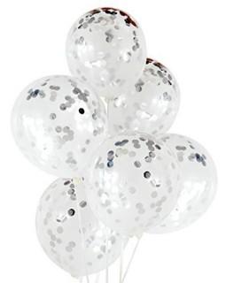 Прозрачные шары с серебряным конфетти