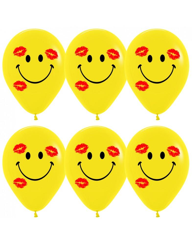 """Воздушные шары """"Смайлы с поцелуями"""""""