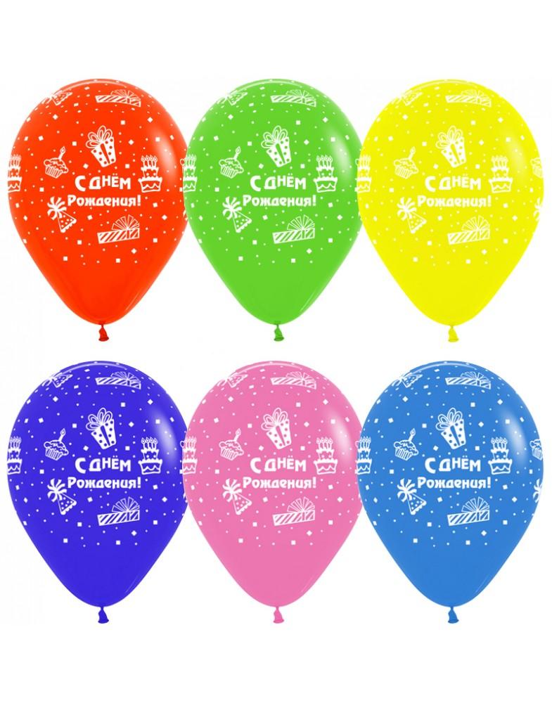 """Воздушные шары """"С Днем Рождения"""" (торт и подарки)"""