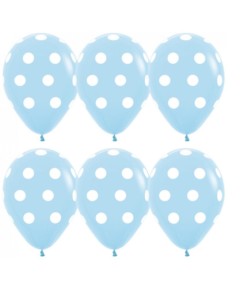 Воздушные шары голубые с белыми точками