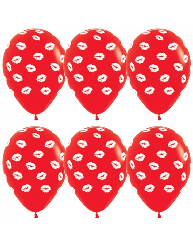 Воздушные шары красные с поцелуями