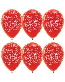 """Воздушные шары """"Узоры"""" (красные)"""
