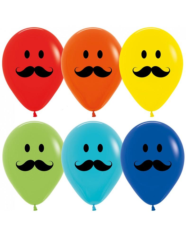 """Воздушные шары """"Смайлы с усами"""""""