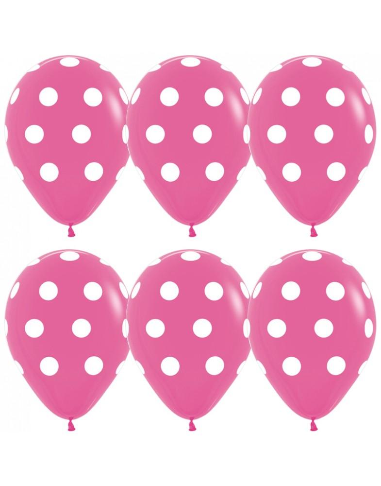 Воздушные шары розовые в белый горошек