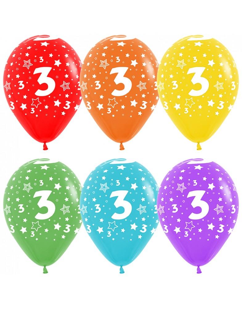 Воздушные шары с цифрой 3