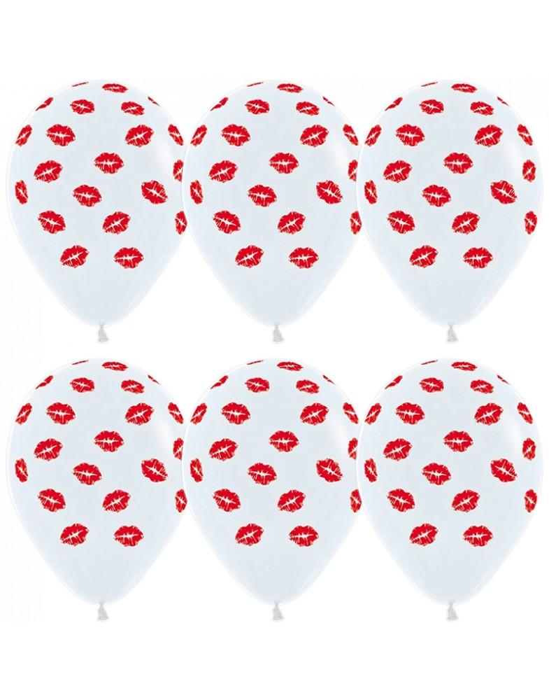Воздушные шары белые с поцелуями