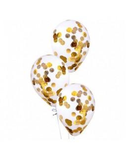 Прозрачные шары с золотым конфетти