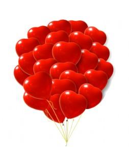 Связка красных латексных сердец
