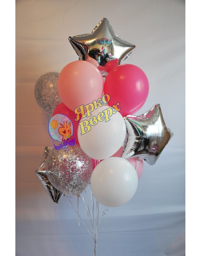 Связка шаров бело-розовая