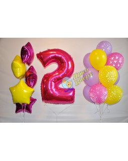 Желто-розовый сет с цифрой