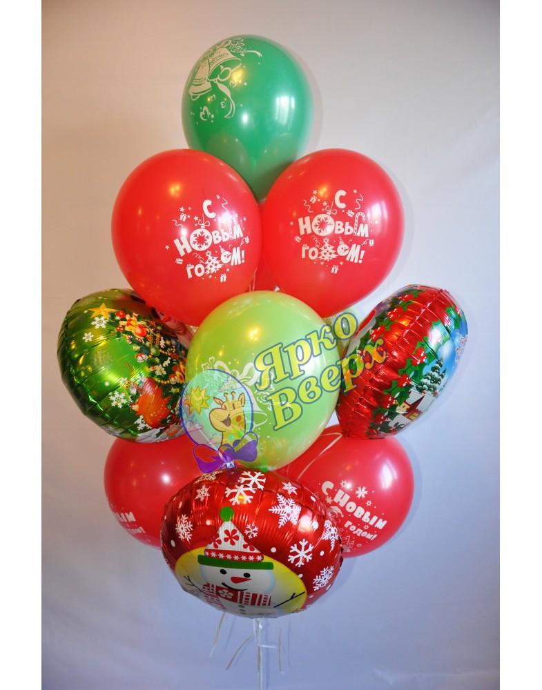 Новогодняя связка шаров с фольгой