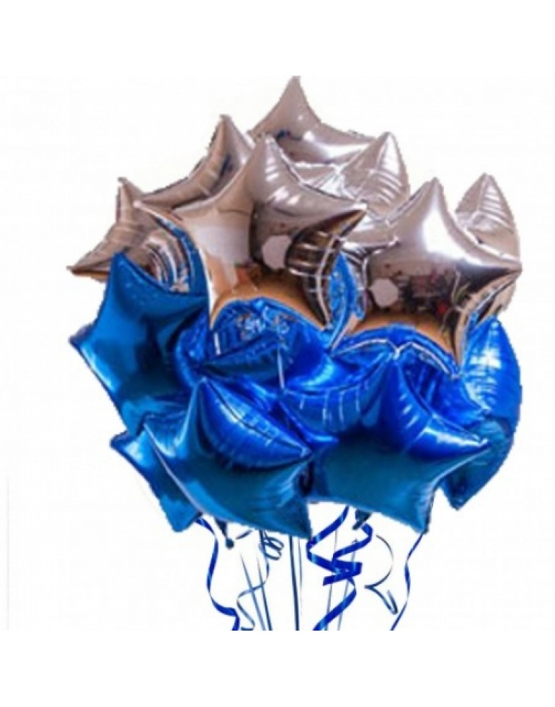 Связка фольгированных звезд синий-серебро