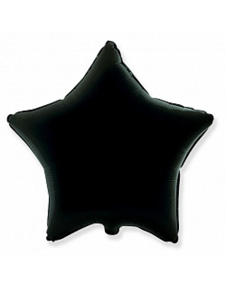Фольгированная звезда 45 см черная