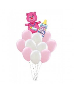Бело-розовое облако с мишкой и бутылочкой