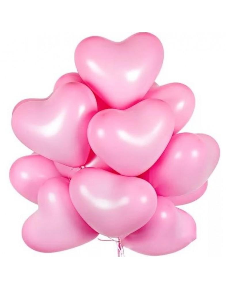 Связка розовых латексных сердец