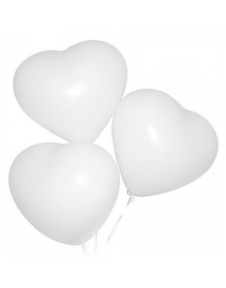 Белое сердце 40 см с гелием