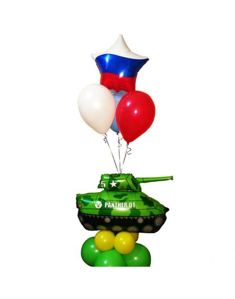 Фонтан с танком и звездой Триколор