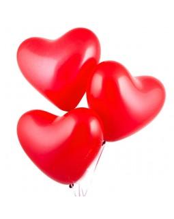 Красные сердца 40 см с гелием