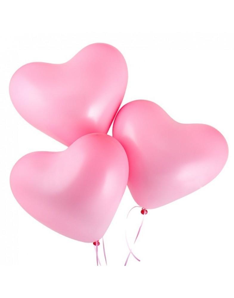 Розовые сердца 40 см с гелием