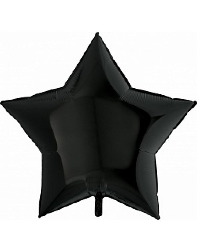 Фольгированная звезда 90 см черная