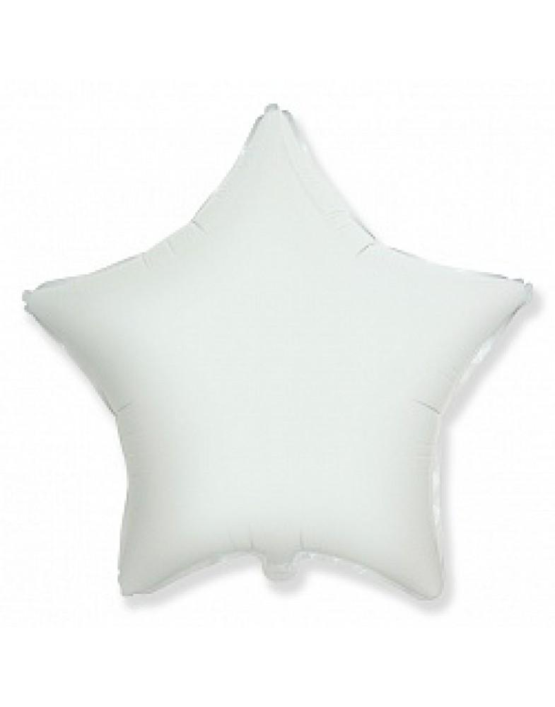 Фольгированная звезда белая 80 см