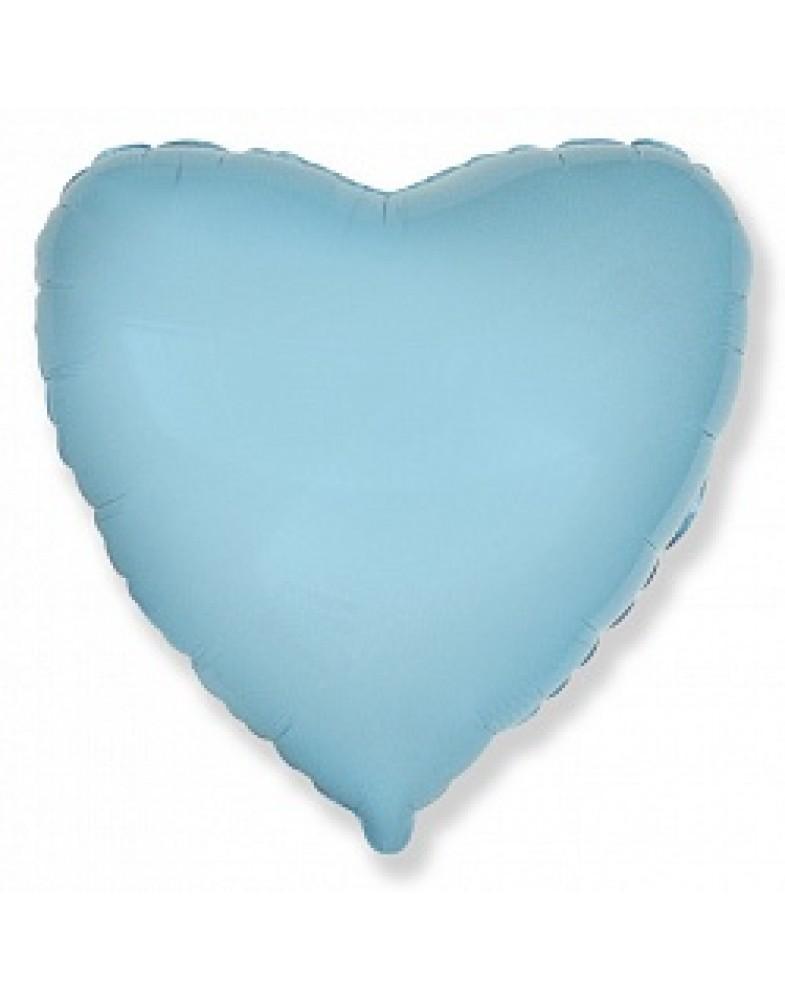 Фольгированное сердце 45 см голубое