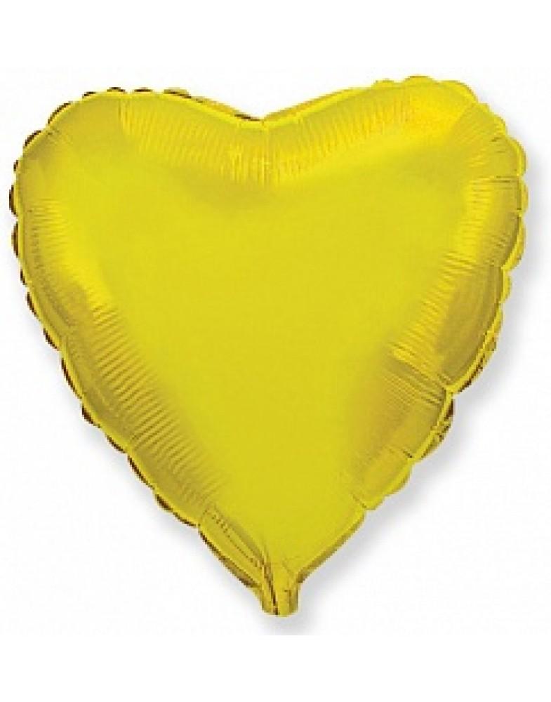 Фольгированное сердце 80 см золото