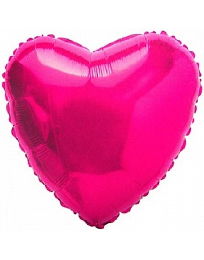 Фольгированное сердце 80 см фуше
