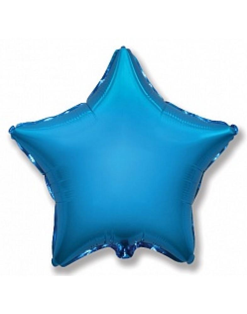 Фольгированная звезда 45 см синяя