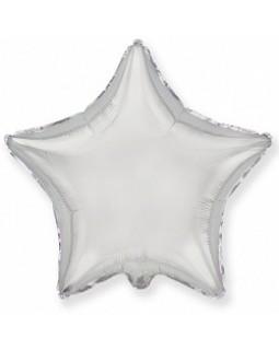 Фольгированная звезда 80 см серебро