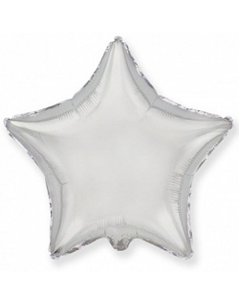 Фольгированная звезда 45 см серебро