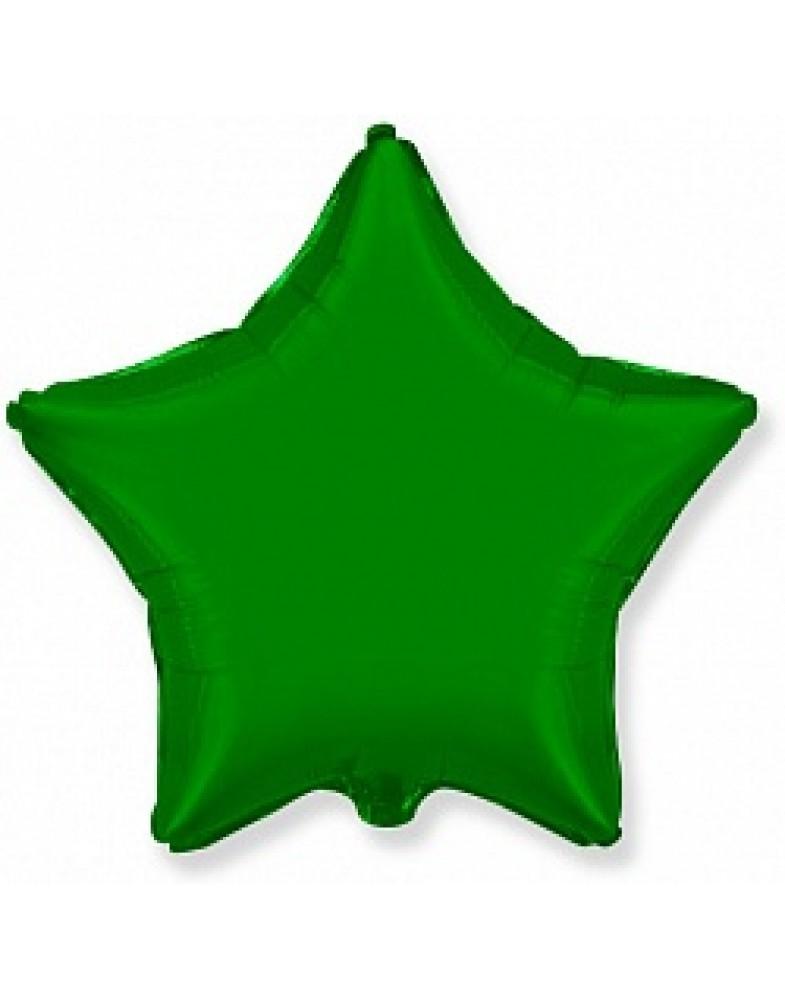 Фольгированная звезда  45 см зеленая