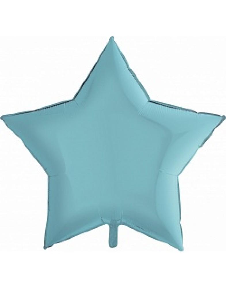 Фольгированная звезда 90 см голубая