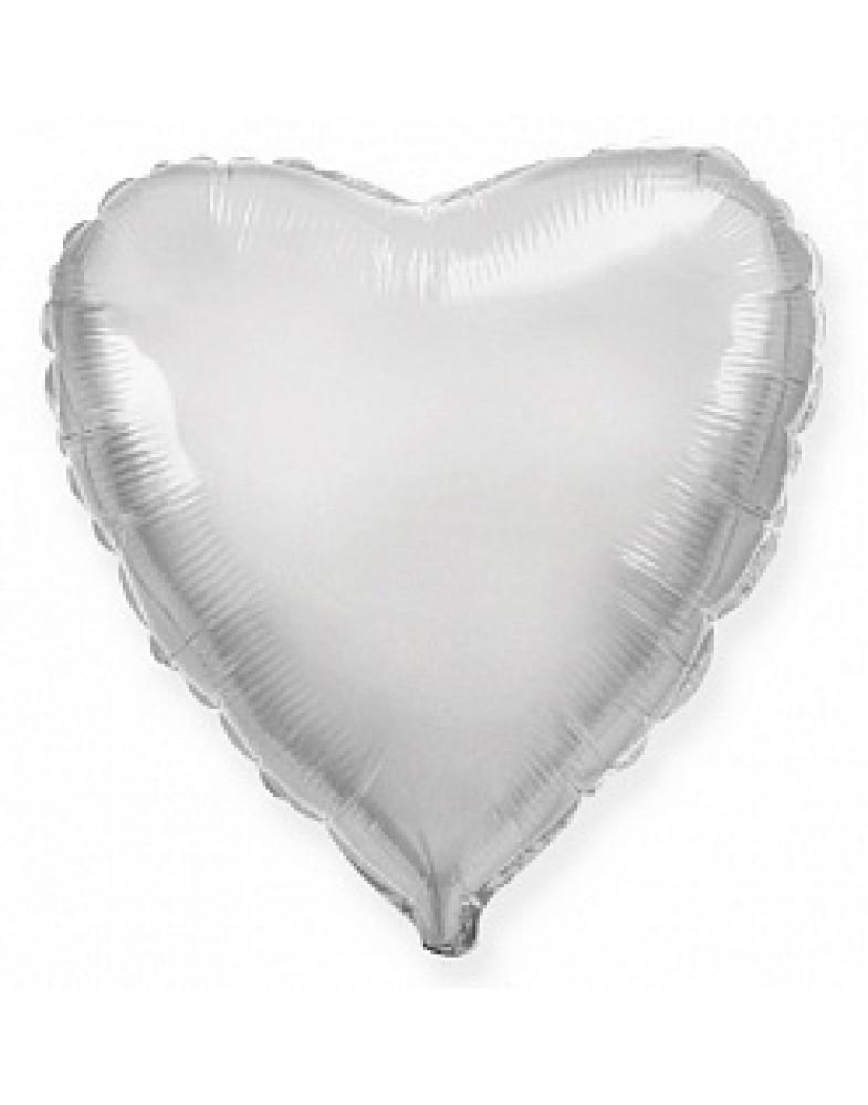 Фольгированное сердце 80 см серебро