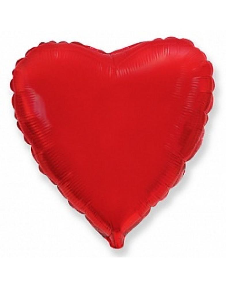 Фольгированное сердце 45 см красное