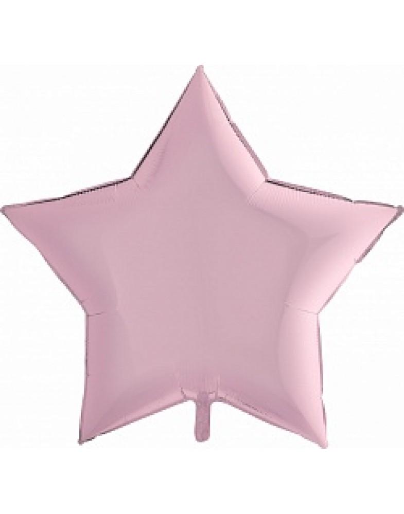 Фольгированная звезда 90 см розовая