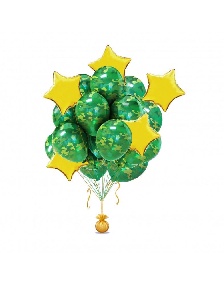 Связка камуфляжных шаров со звездами