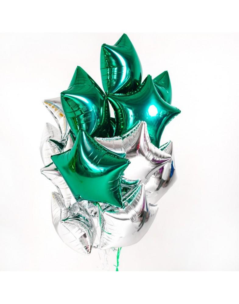 Связка звезд зеленый-серебро
