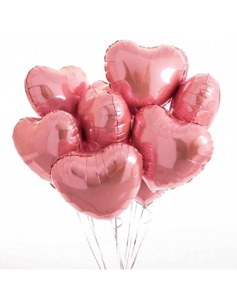 Связка розовых фольгированных сердец