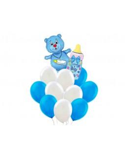 Бело-голубое облако с мишкой и бутылочкой