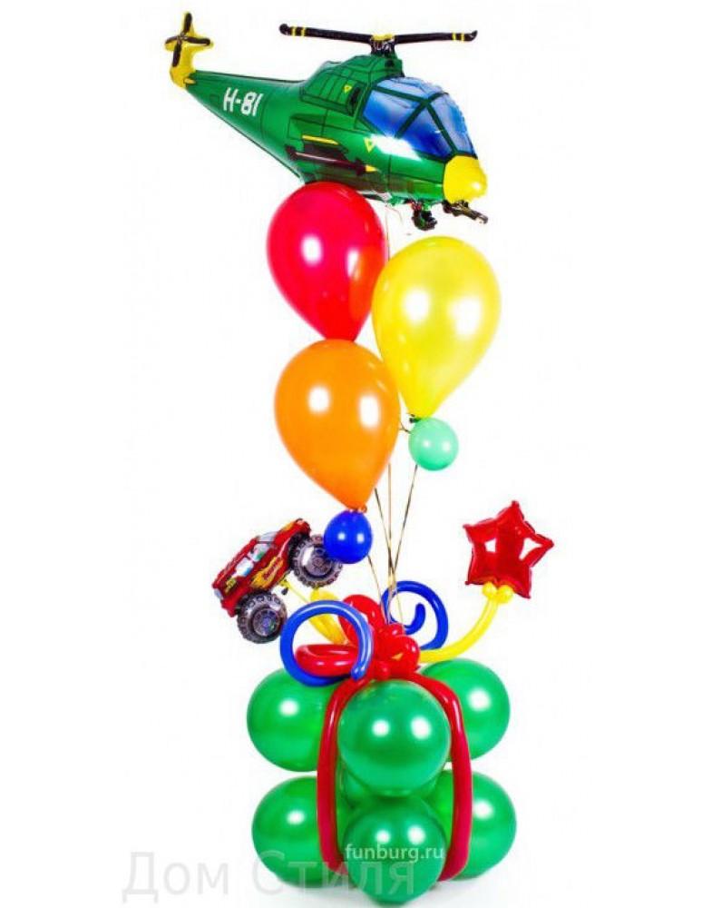 Фонтан с подарком и вертолетиком
