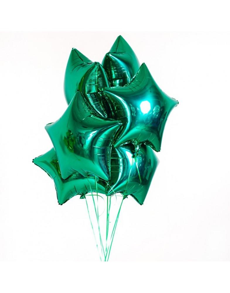 Связка зеленых фольгированных звезд
